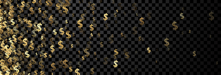 paper currency: Black checkered banner with golden dollar signs. Vector paper illustration. Illustration