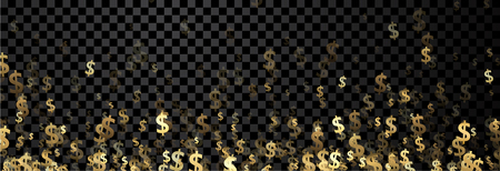 Black checkered banner with golden dollar signs. Vector paper illustration. Illustration