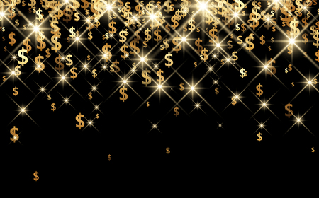 finances: Black luminous background with golden dollar signs. Vector paper illustration.