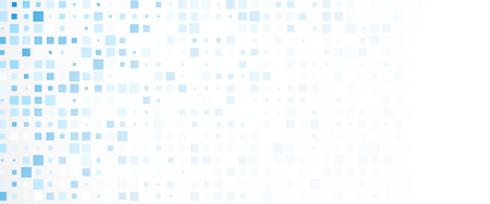 oncept: White banner with blue geometric squares pattern. Vector paper illustration.