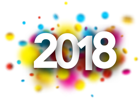 2018 new year background with blurred confetti. Vector paper illustration.