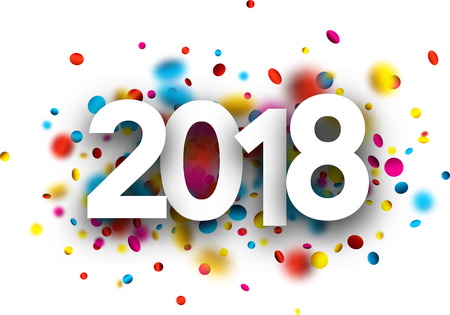 2018 new year background with colorful confetti. Vector paper illustration.