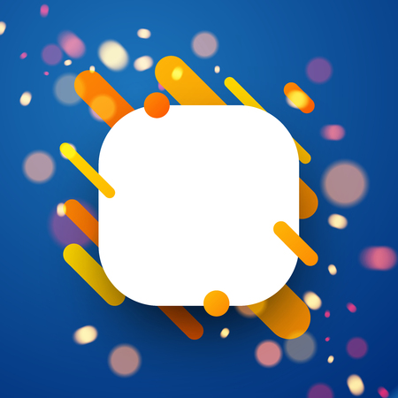 event party: Orange rounded abstract background on blue. Vector paper illustration.