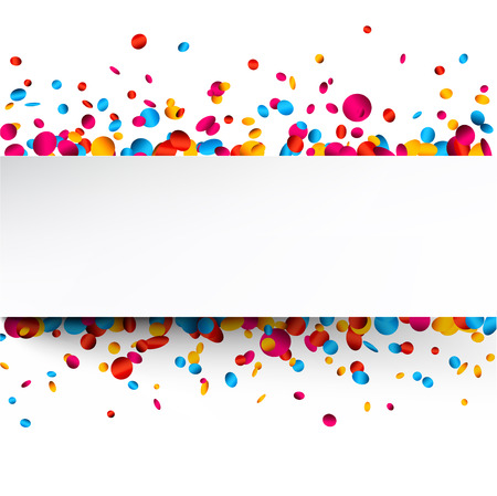 White festive background with glossy colorful confetti. Vector paper illustration. Ilustrace
