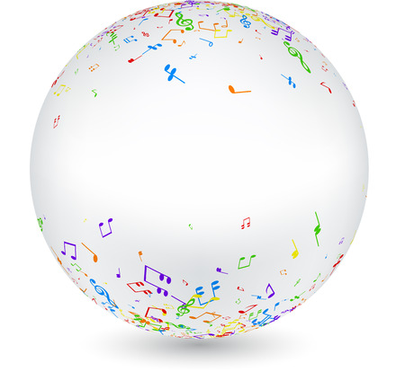 sounding: White round 3d musical background with colorful notes. Vector paper illustration.