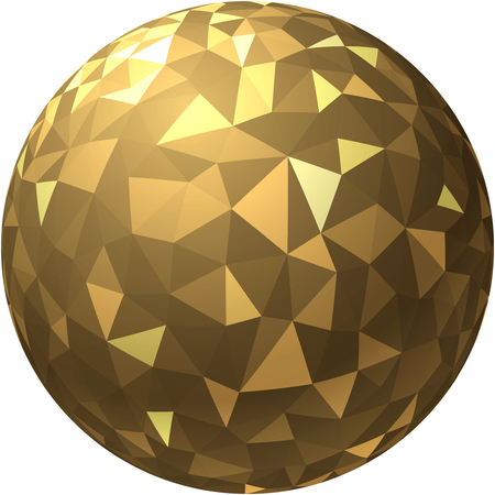 Golden 3d ball with abstract geometric pattern. Vector paper illustration. Illustration