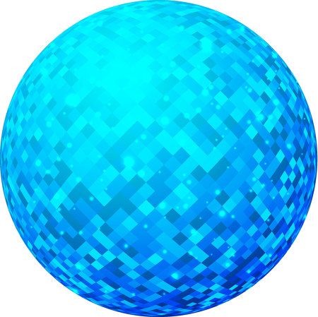 Blue shiny 3d ball with geometric pattern. Vector paper illustration.