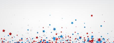 White banner with red, white, blue stars. Vector paper illustration. 向量圖像