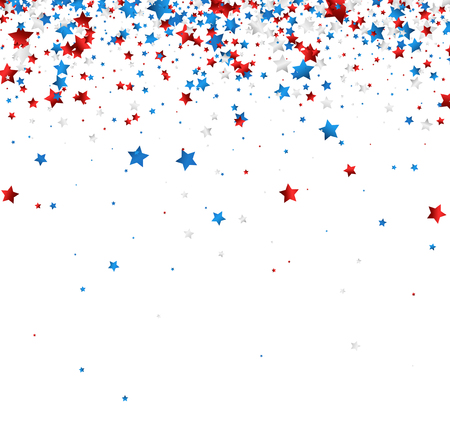 White background with red, white, blue stars. Vector paper illustration.