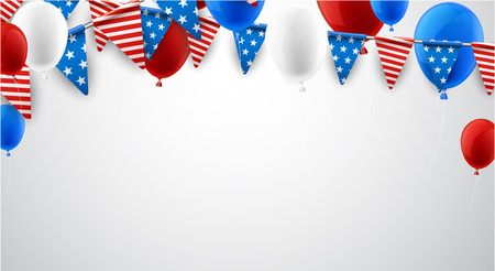 festivity: USA Independence Day background with flags and balloons. Vector paper illustration. Illustration