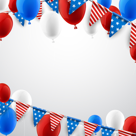USA Independence Day background with flags and balloons. Vector paper illustration. Çizim