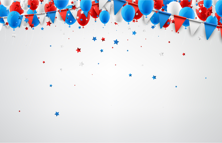 White festive background with flags, balloons and stars confetti. Vector illustration. Ilustracja