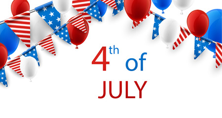glassy: USA Independence Day background with flags and balloons. Vector paper illustration. Illustration