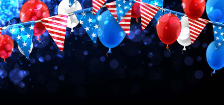 festivity: Bokeh USA Independence Day background with flags and balloons. Vector illustration. Illustration