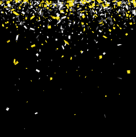 Black background with yellow and white paper confetti. Vector illustration.