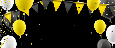 Black banner with yellow flags, balloons and confetti. Vector illustration.
