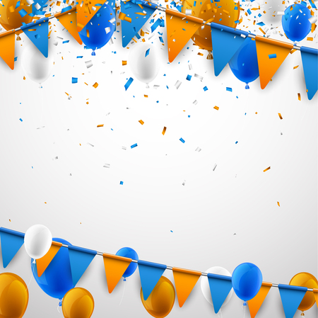 A Background with blue and orange flags, balloons and confetti. Vector illustration.