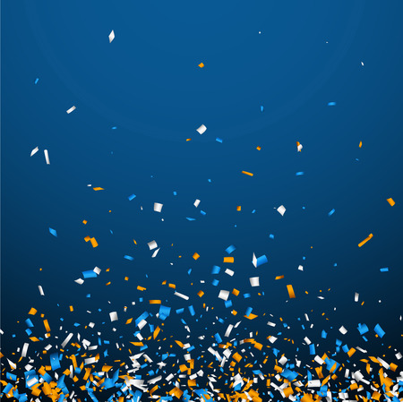 Blue background with white and orange paper confetti. Vector illustration.