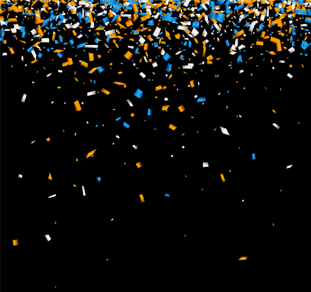 Black background with blue and orange paper confetti. Vector illustration. Illustration