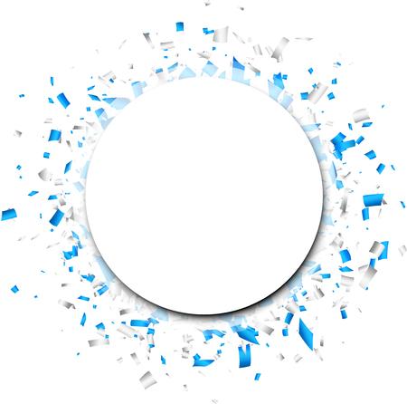 Fond rond blanc avec confettis en papier bleu. Illustration vectorielle. Banque d'images - 81067730