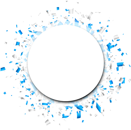 White round background with blue paper confetti. Vector illustration. Ilustracja