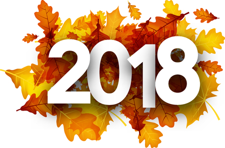 calendario octubre: 2018 autumn background with golden maple and oak leaves. Vector illustration.