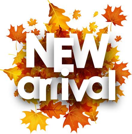 Nuovo manifesto di autunno di arrivo con foglie di acero dorato e di quercia. Illustrazione vettoriale. Archivio Fotografico - 84858143
