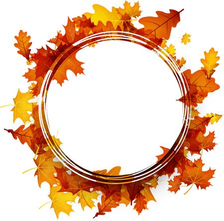 Ronde herfst achtergrond met gouden esdoorn en eikenbladeren. Vector papier illustratie.