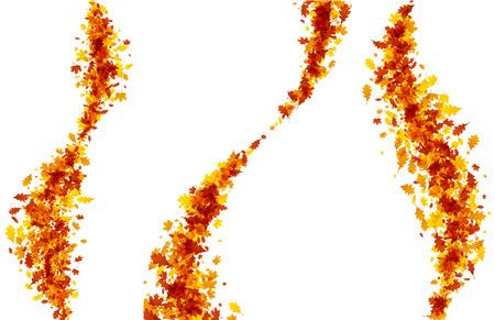 Orange maple and oak leaves autumn pattern. Vector illustration.