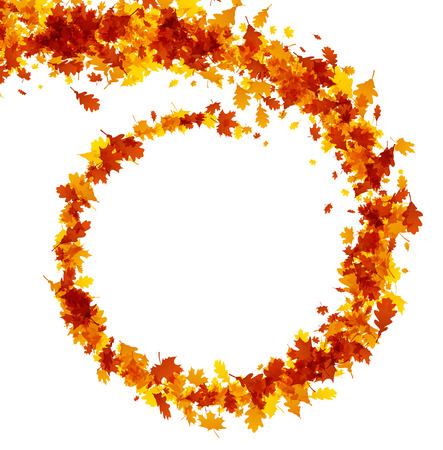 Herfst achtergrond met spiraal van esdoorn en eikenbladeren. Vector illustratie.
