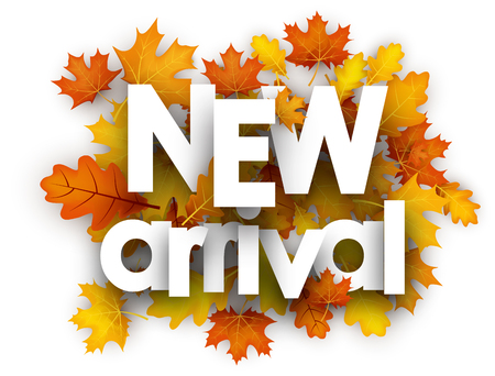 New arrival autumn card with golden maple and oak leaves. Vector illustration.