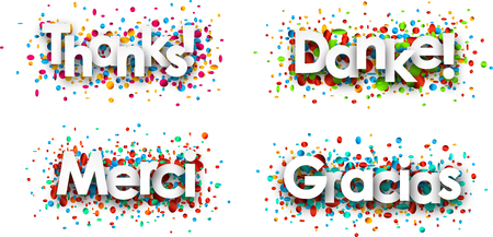 Thanks white paper cards with confetti, Spanish, French, German. Vector illustration.