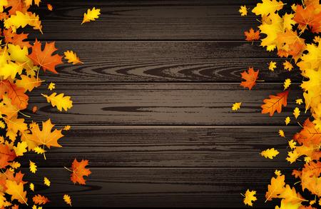 Houten herfst achtergrond met gouden esdoorn en eikenbladeren. Vector illustratie.
