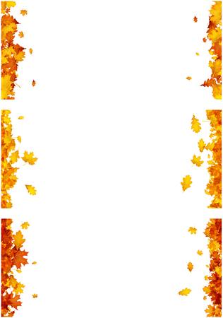 De herfstachtergronden met gouden esdoorn en eiken bladeren worden geplaatst dat. Vector illustratie. Stock Illustratie