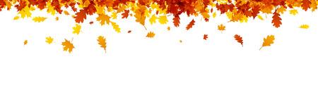 Herfstbanner met gouden esdoorn en eikenbladeren. Vector papier illustratie. Stock Illustratie