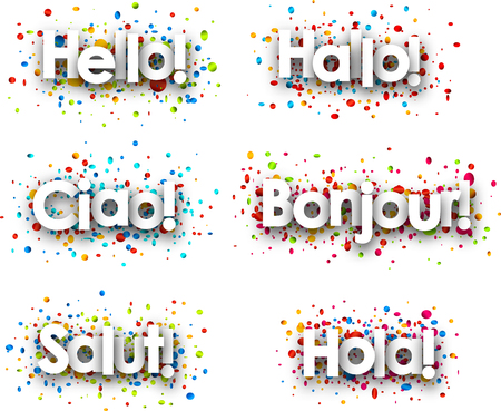Hello paper card with confetti, Italian, Spanish, French, German, Catalan. Vector illustration. Illustration