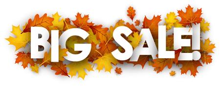 Autumn big sale banner with golden maple and oak leaves. Vector illustration. Illustration