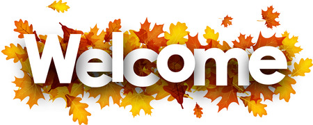 Welcome autumn banner with golden maple and oak leaves. Vector illustration.