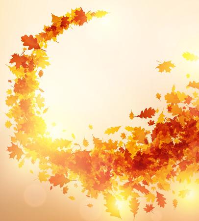 Glanzende herfst achtergrond met dwarrelen van esdoorn en eikenbladeren. Vector illustratie.