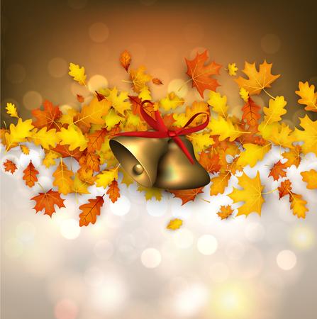 Herfst achtergrond met gouden bladeren en klokken. Vector illustratie. Stock Illustratie