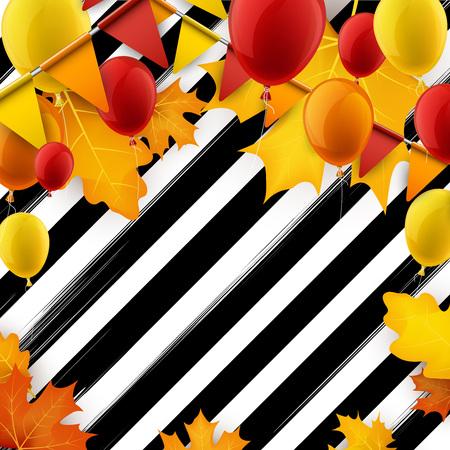 Feestelijke herfst gestreepte achtergrond met ballonnen en vlaggen. Vector illustratie.