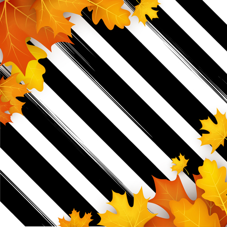Herfst gestreepte achtergrond met gouden esdoorn en eikenbladeren. Vector illustratie.