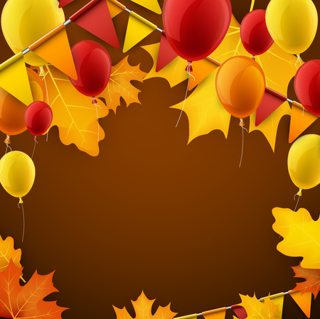 Festive autumn background with leaves, balloons and flags. Vector illustration. Illustration