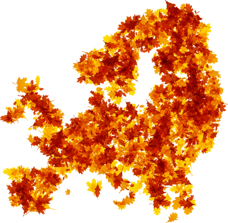 Autumn Europe-kaartsilhouet van gouden bladeren. Vector illustratie.