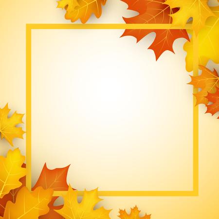 Herfst vierkante achtergrond met gouden esdoorn en eikenbladeren. Vector illustratie.