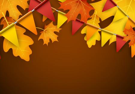 Feestelijke herfst achtergrond met bladeren en vlaggen.