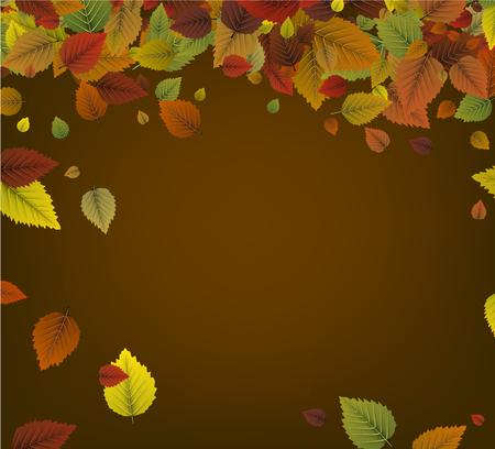 Herfst oker achtergrond met kleurrijke bladeren. Stock Illustratie