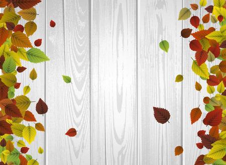 Herfst houten achtergrond met kleurrijke bladeren.