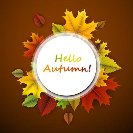 Oker hallo herfst kaart met kleurrijke esdoorn en berken bladeren. Stock Illustratie