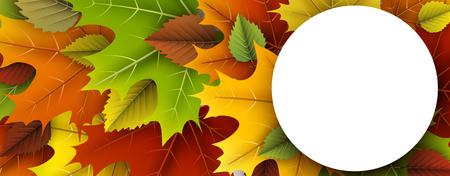 Herfst ronde banner met kleurrijke esdoorn en berken bladeren. Stock Illustratie